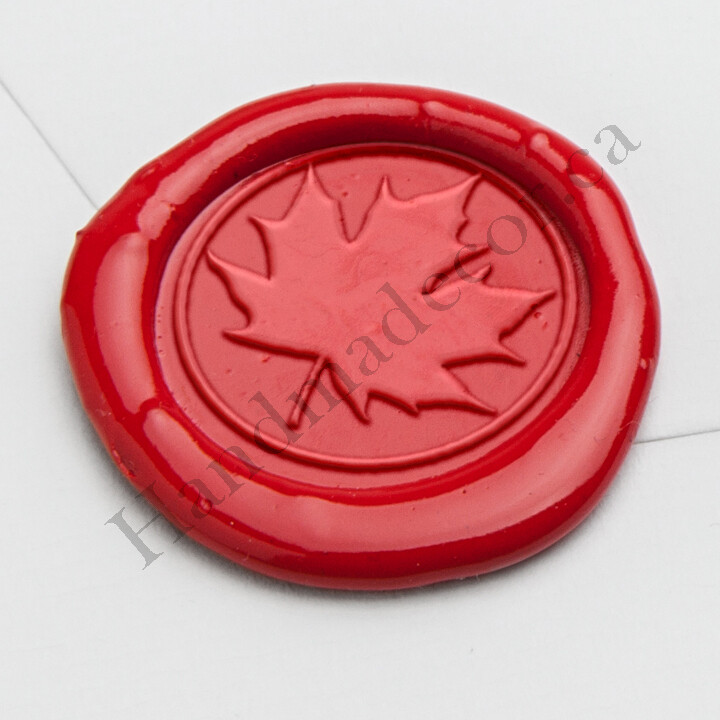 self adhesive Maple Leaf Wax Seal Stamp - Handmade Wax Seals (Peel n Stick Self-Adhesive Backing)