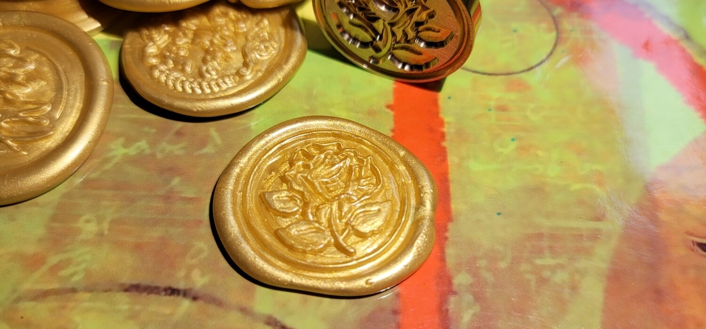 self adhesive rose flower Wax Seal Stamp - Handmade Wax Seals (Peel n Stick Self-Adhesive Backing)