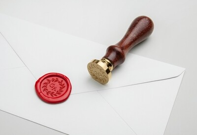 Custom 2 initials With Badge Wedding Flower Hand Drawn Border Wax Seal Stamp
