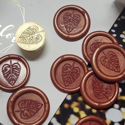 Self-Adhesive palm leave wax Seal Stamp - Handmade Wax Seals (Peel n Stick Self-Adhesive Backing)