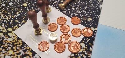 Self-Adhesive Dandelion flower wax Seal Stamp - Handmade Wax Seals (Peel n Stick Self-Adhesive Backing)