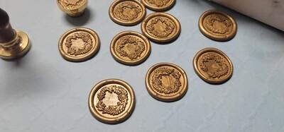 Self-Adhesive flower wreath seal Stamp - Handmade Wax Seals (Peel n Stick Self-Adhesive Backing)