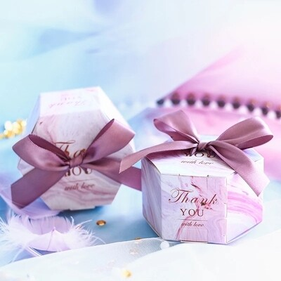 New Creative Romantic Marbling style Candy Boxes Wedding Favors and Pink Gifts Box Party Supplies Baby Shower Paper Sweet Chocolate