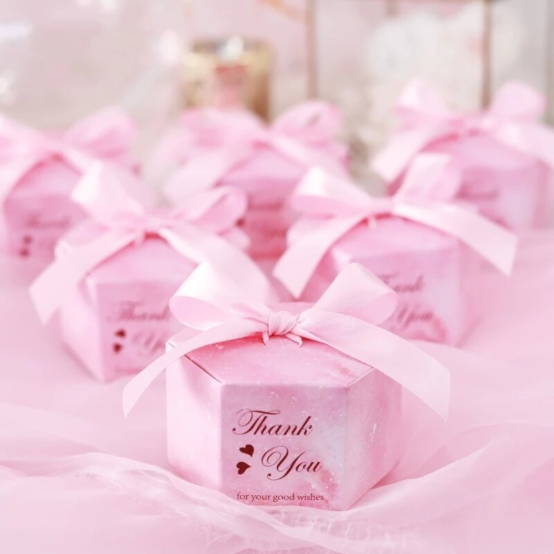 Pink Starry Sky Hexagon Candy Boxes Wedding Baby Shower Gift Boxes Thank You Chocolate Boxes Christmas Party Decoraions