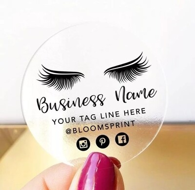 Thank You Stickers, Happy Mail Labels, Packaging Stickers- EyeLashes Custom Logo Personalized Eyelash Business Sticker, Lash Artist Sticker, EyeLash Clear Sticker