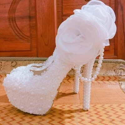 Flock Women wedding shoes Bride high heels platform shoes Bridal Big Flower shoes