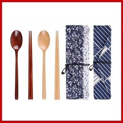 Portable Tableware Wooden Cutlery Sets with Useful Spoon Fork Chopsticks Travel Gift Dinnerware Suit with Cloth bag