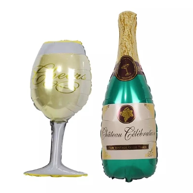 Party Decoration Balloons Champagne Glass Happy Birthday Party Decorations Adult kids Bachelorette Event Party Supplies