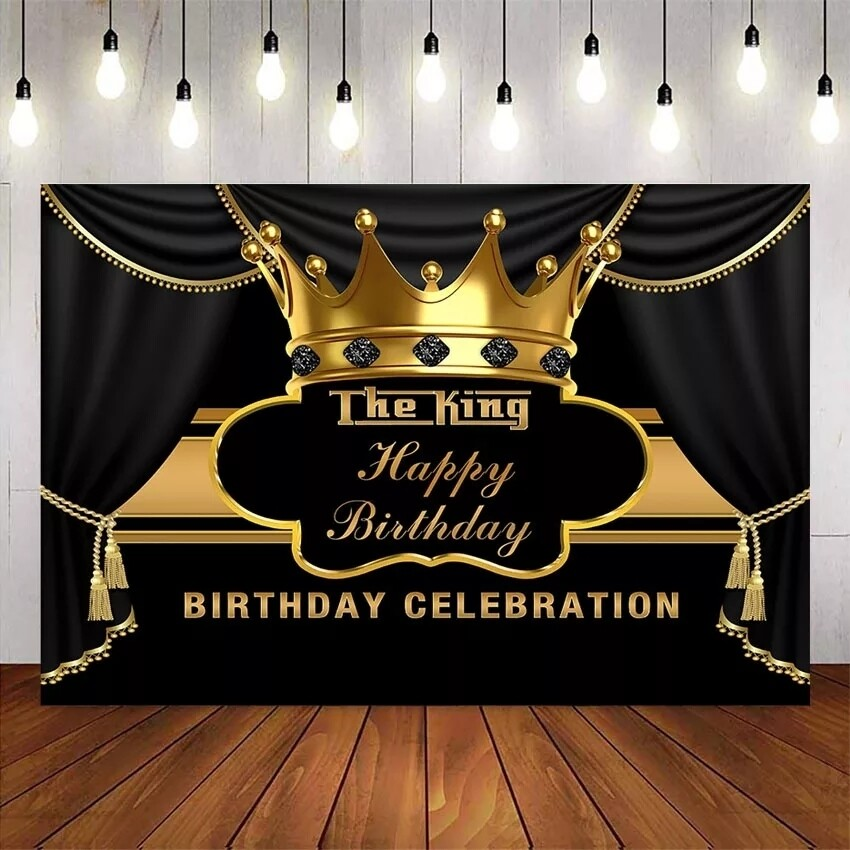 Prince happy birthday Backdrop Gold Crown Black curtrain background for photo studio boy birthday party decoration supplies