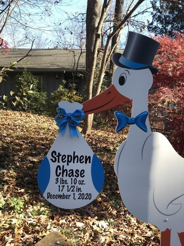 Blue or Pink Stork Sign Rental