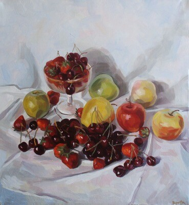 Oil Painting Titled Still life with merry