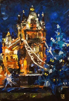 Oil painting Titled Christmas at London