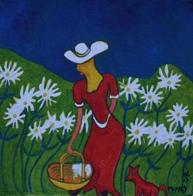 Lady Picking Daisy's