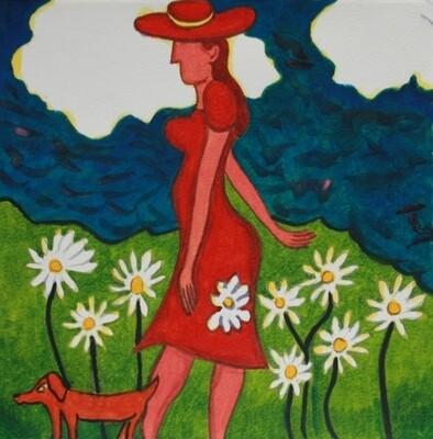 Lady in Daisy Field