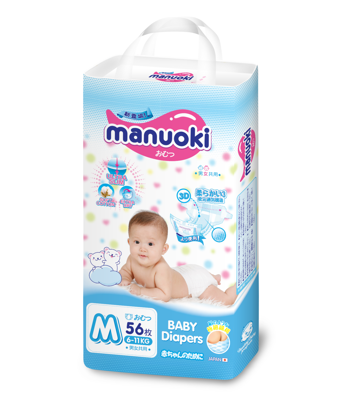 Подгузники MANUOKI Ultra Slim Diapers M56D (6-11 кг)