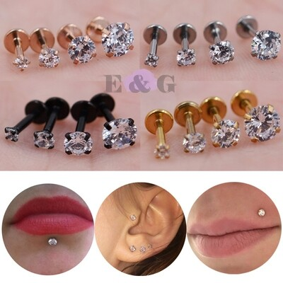 4 PCS / NOSE ,LIP AND EARRING ROUND CLEAR AAA ZIRCON PIERCING