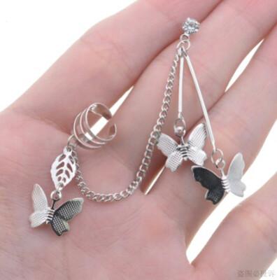 Butterfly Tassel Earrings for Women Clip Fake Piercing