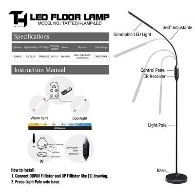 TAT TECH TATTOO LED Flex Arm Floor Lamp (WITH REMOTE)