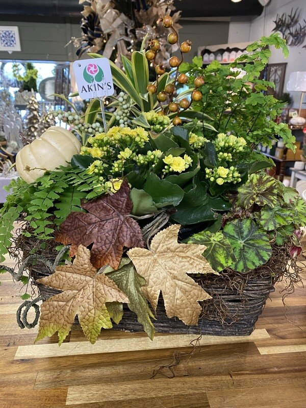 Large Seasonal Arrangement in Decorative Basket
