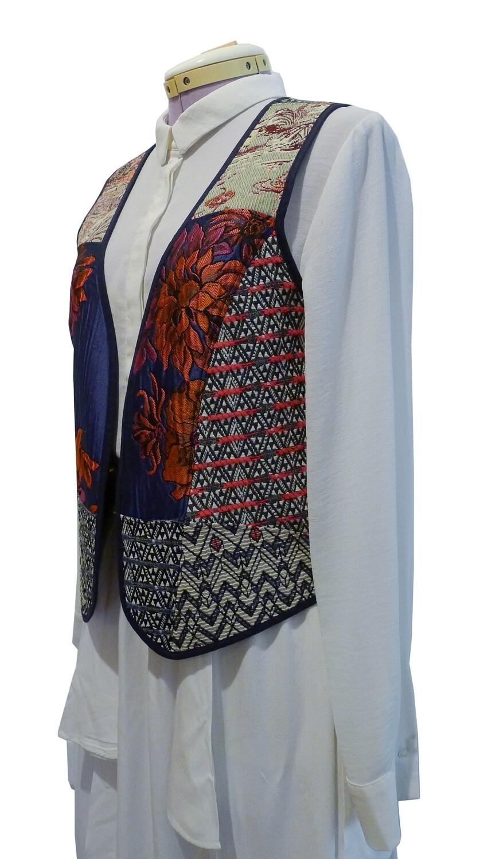 """YAKAYA Damen Weste """"Gayatri"""" mit schönem gewebten Ethno-Mustern in Patchwork - jedes Teil ein Unikat - Ethno, Hippie, Boho - Style"""