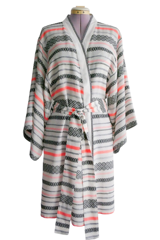 YAKAYA Leichter Kimono mit Ethno Streifenmuster
