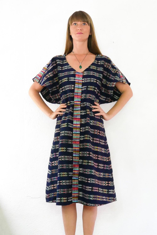 "YAKAYA Damen Kleid Goddess Midi Dress ""Jyoti"" mit Ikat Muster Stoff aus Guatemala - jedes Teil ein Unikat - Ethno, Hippie, Boho - Style - auf Bestellung"
