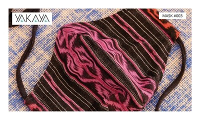 Gesichtsmaske / Behelfsmaske / Mund-Nasenbedeckung in IKAT Muster Stoff Guatemala mit Bio-Futter / Face Mask in Ikat pattern fabric Guatemala with organic lining