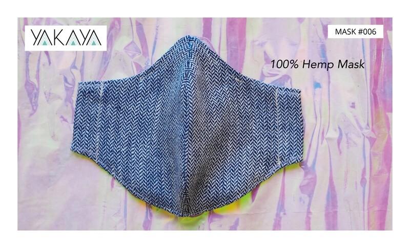 Gesichtsmaske / Behelfsmaske / Mund-Nasenbedeckung in Fischgrat Bio Hanf Stoff mit Bio-Futter / Face Mask in organic hemp fabric with organic lining