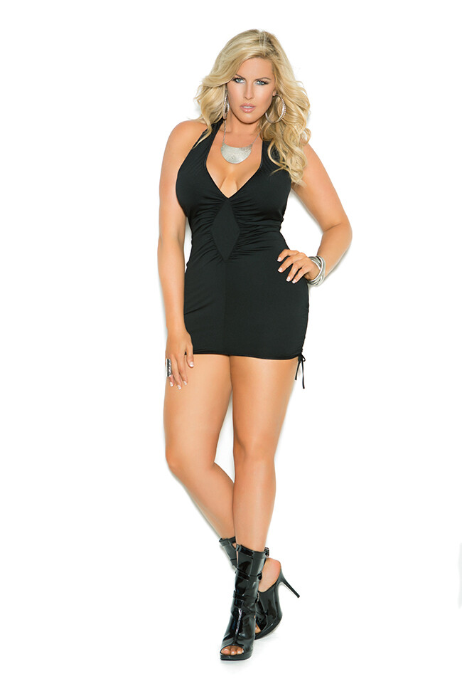 Deep V halter neck mini dress with adjustable scrunch sides.
