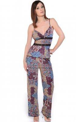 Printed Mico fiber Camisole PJ set with lace trims