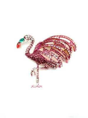 Grande broche pendentif Flamingo sertie