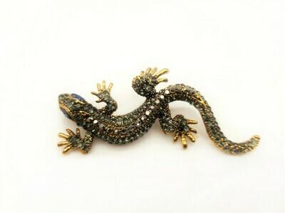 Broche salamandre sertie de strass