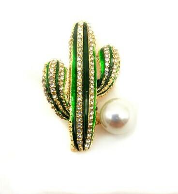 Broche en émail et strass en forme de cactus