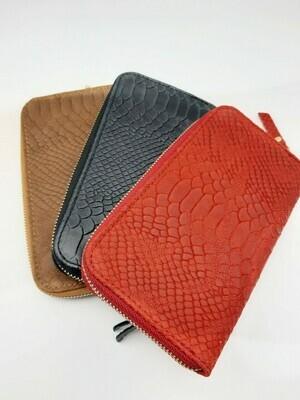 portefeuille en cuir effet serpent ou python