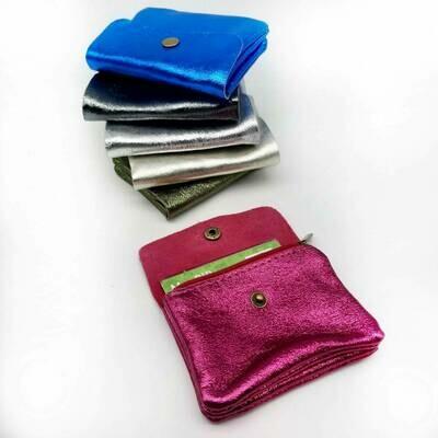 Porte-monnaie et porte-cartes en cuir irisé