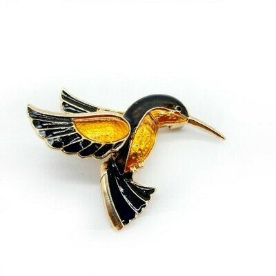 Broche émaillée colibri