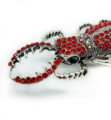 Grande broche coléoptère rouge