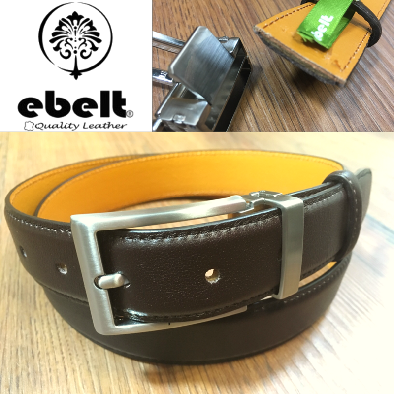 [香港品牌 EBELT] 男裝高級頭層牛皮真皮皮帶 3cm Top Grade Cow Full Grain Leather Belt - ebm0154BRN