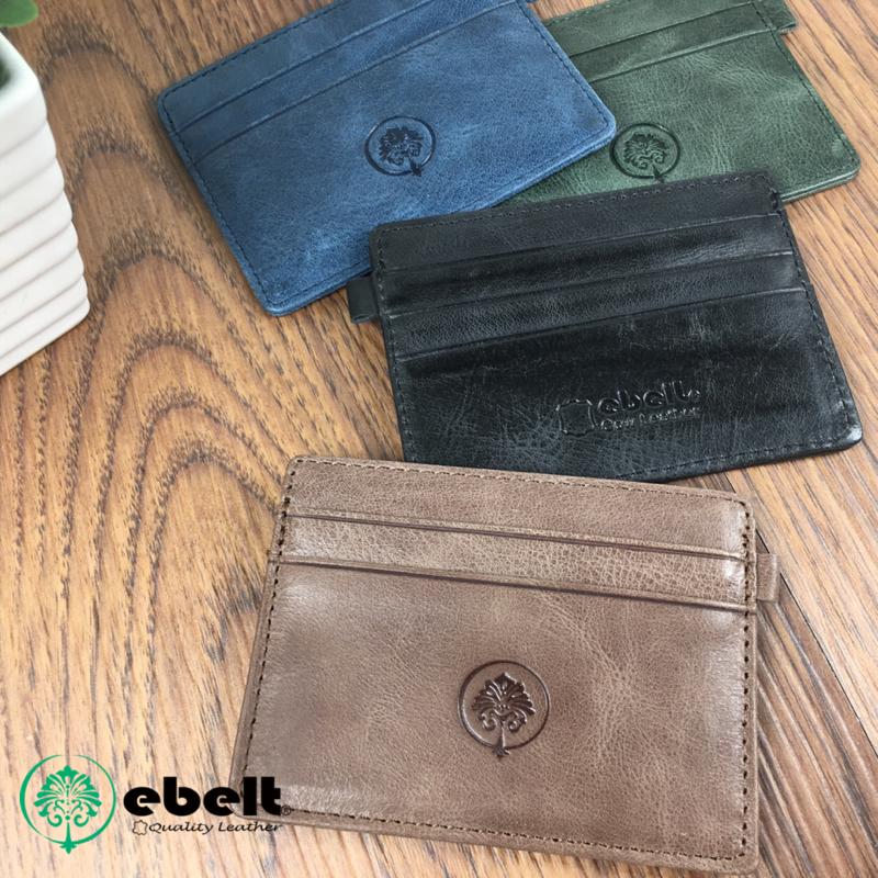 [香港品牌 EBELT]  頭層油蠟牛皮真皮卡片套 / 八達通套 Full Grain Wax Leather Card Holder - WM0068
