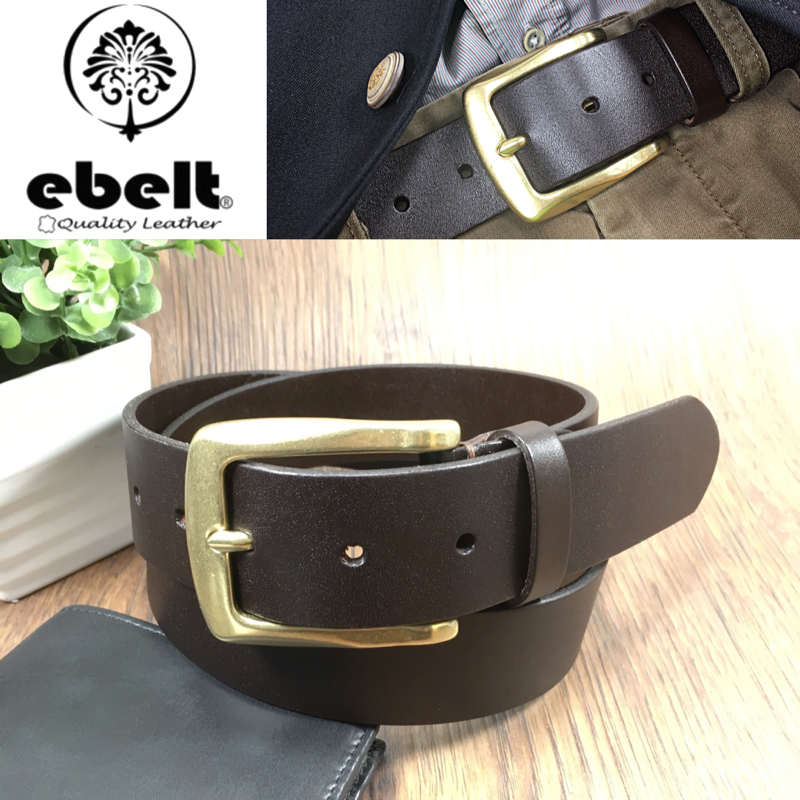 ebelt 銅扣頭層意大利頭層牛皮皮帶 Solid Brass Buckle Full Grain Italian Cow Leather Belt 3.7cm - ebc0324