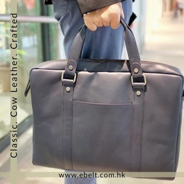 [香港品牌 EBELT] 頭層植鞣牛皮公事包 Vegetable tanned Cow Leather Briefcase BM007