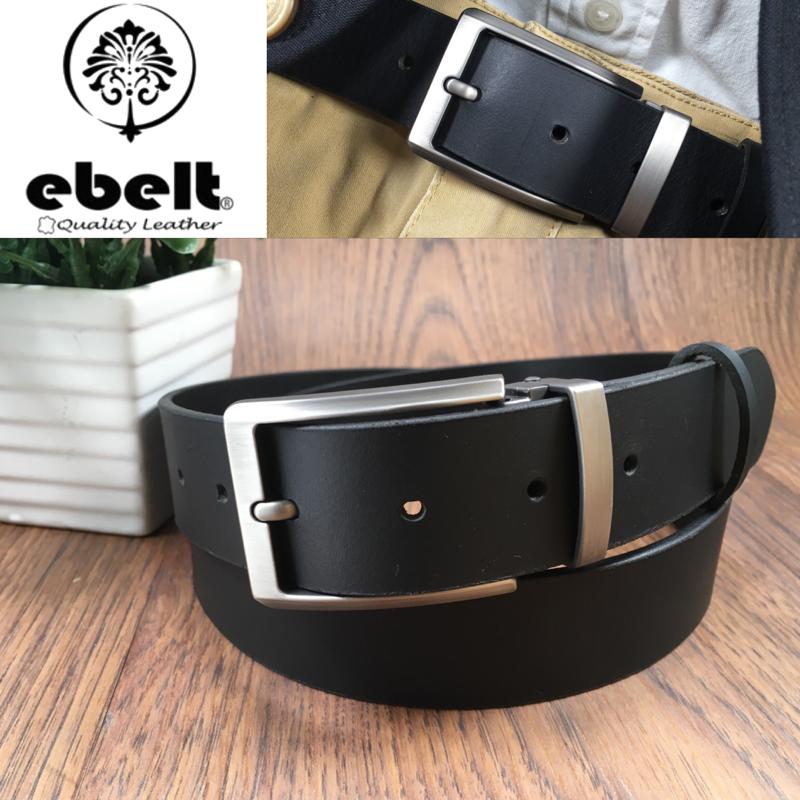 [香港品牌 EBELT] 男裝皮帶 -頭層水牛皮真皮皮帶 BUFFALO LEATHER BELT 3.4cm- ebc0323D