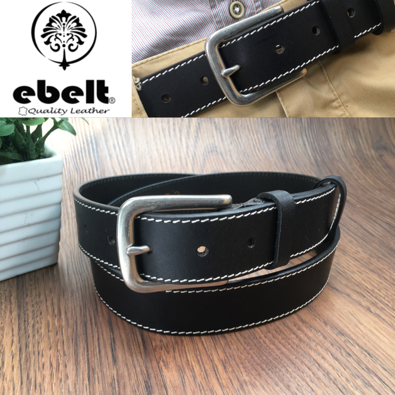 [香港品牌 EBELT] 頭層油蠟牛皮真皮皮帶配銅扣 Top Grain Wax Cow Leather Belt 3.4cm Solid Brass Buckle  - ebc0306