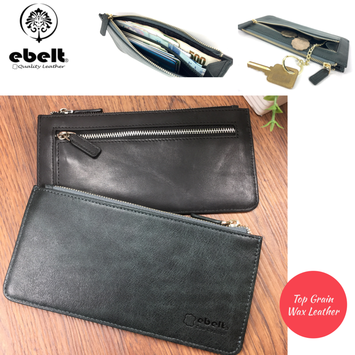 ebelt 頭層油蠟牛皮薄身長銀包 Full Grain Wax Leather Slim Long Wallet - WM0134