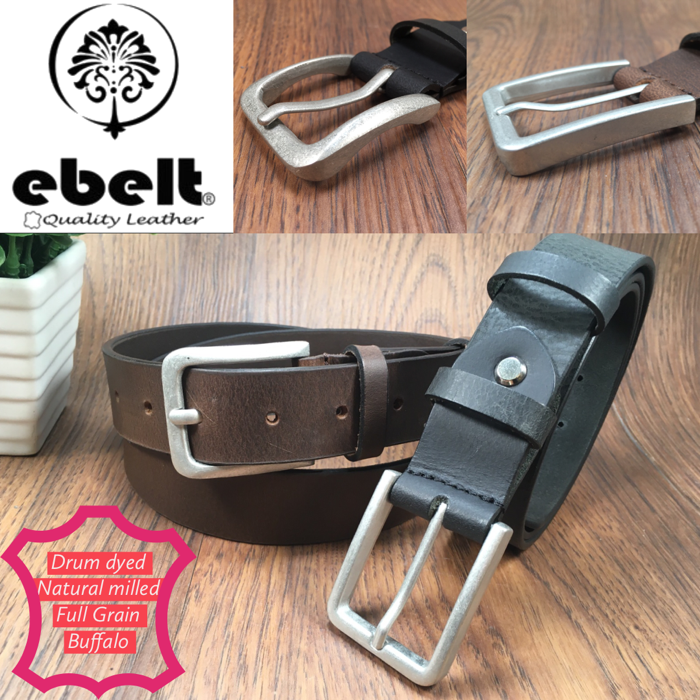 ebelt 印度製 頭層水牛皮皮帶 BUFFALO FULL GRAIN LEATHER BELT 3.2cm- ebc0328
