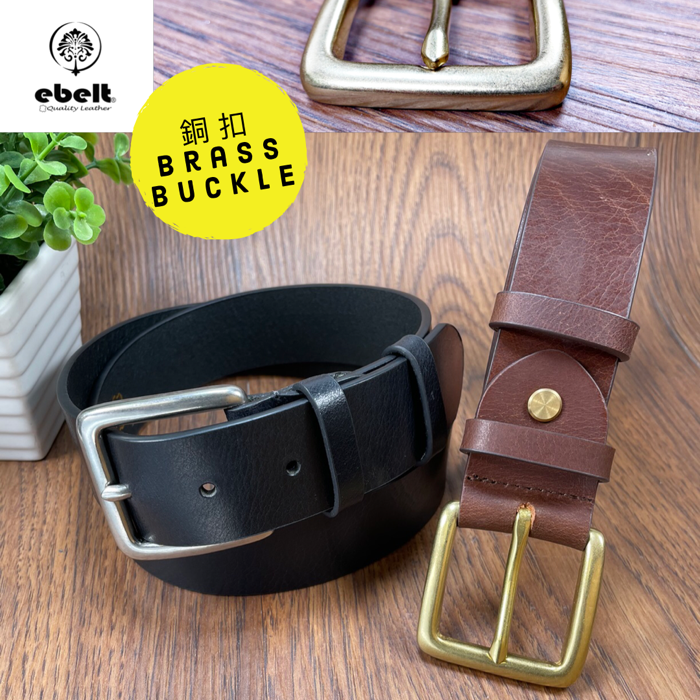 [香港品牌 EBELT]  銅扣頭層油蠟牛皮真皮皮帶 Solid Brass Buckle Full Grain Wax Cow Leather Belt 3.7cm - ebc0300