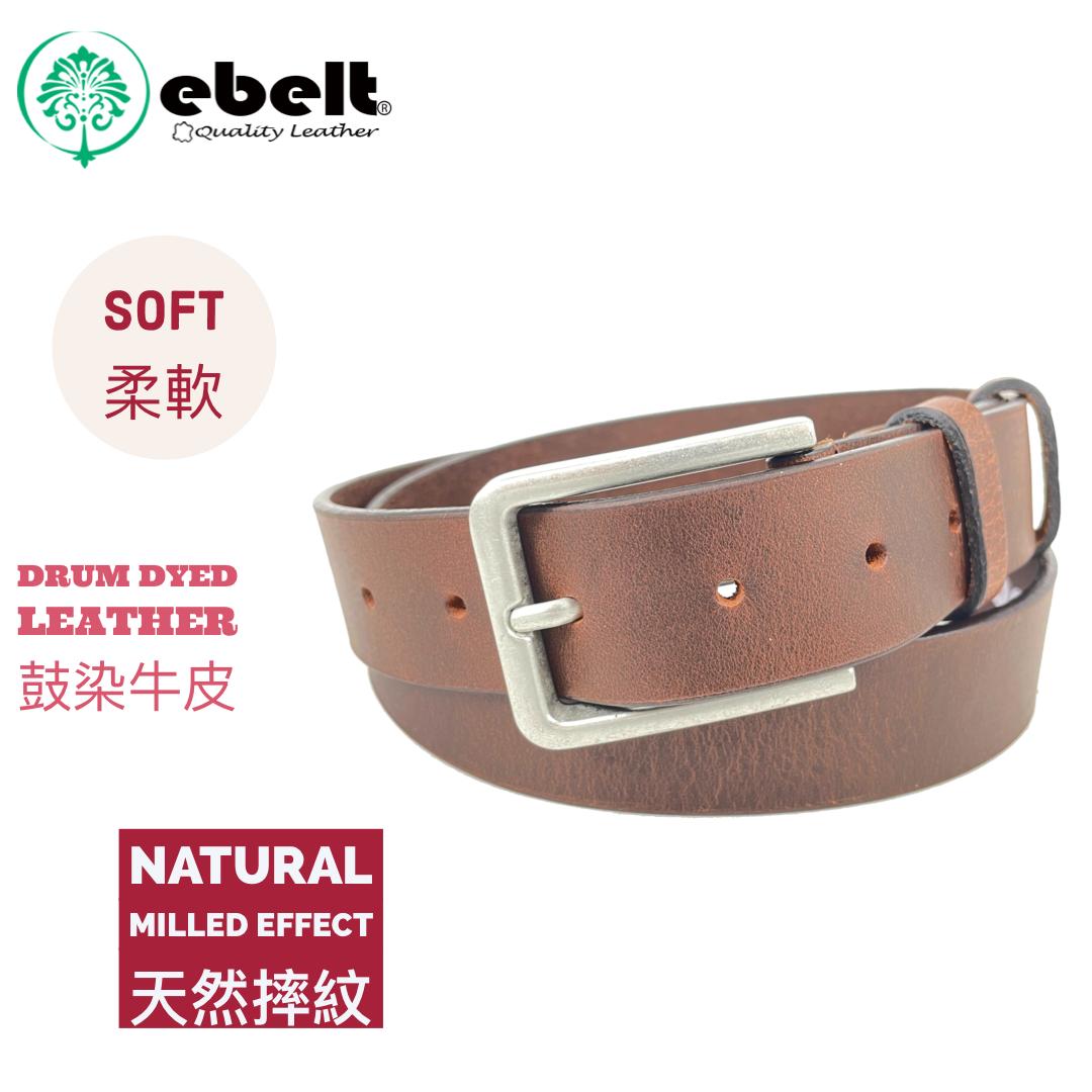 [香港品牌 EBELT] 印度製 頭層水牛皮真皮皮帶 BUFFALO FULL GRAIN LEATHER BELT 3.2cm- ebc0328A