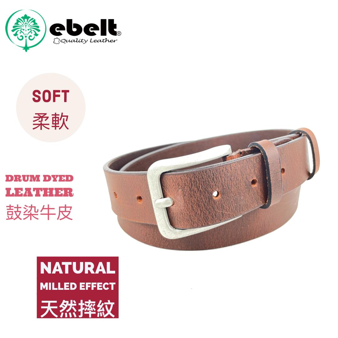 [香港品牌 EBELT] 印度製 頭層水牛皮真皮皮帶 BUFFALO FULL GRAIN LEATHER BELT 3.2cm- ebc0328E