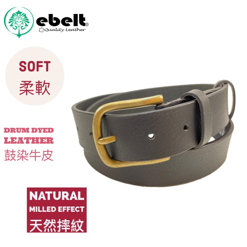 [香港品牌 EBELT]  頭層水牛皮真皮皮帶 BUFFALO FULL GRAIN LEATHER BELT 3.3cm- ebc0328BRASS