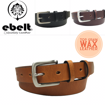 ebelt 頭層油蠟牛皮皮帶銅扣 Full Grain Wax Cow Leather Belt 3.0cm Solid Brass Buckle - ebc0301